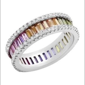Savvy Cie Silver Channel Set Baguette Rainbow Ring